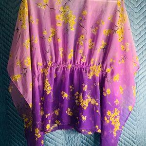 APT.9 Medium Purple&Yellow Sheer Kimono